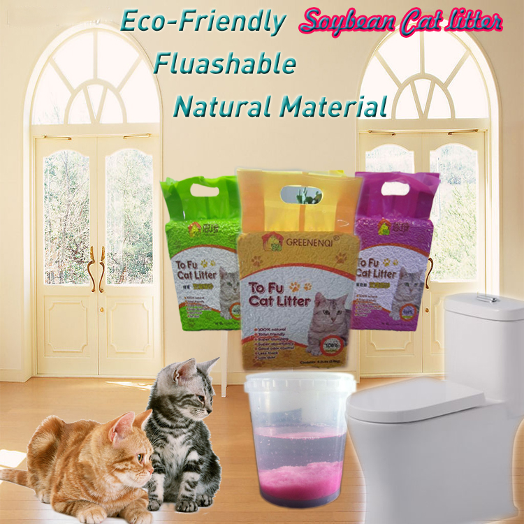 Best cat litter for odor control Crushable Soybean Cat litter Fluashable
