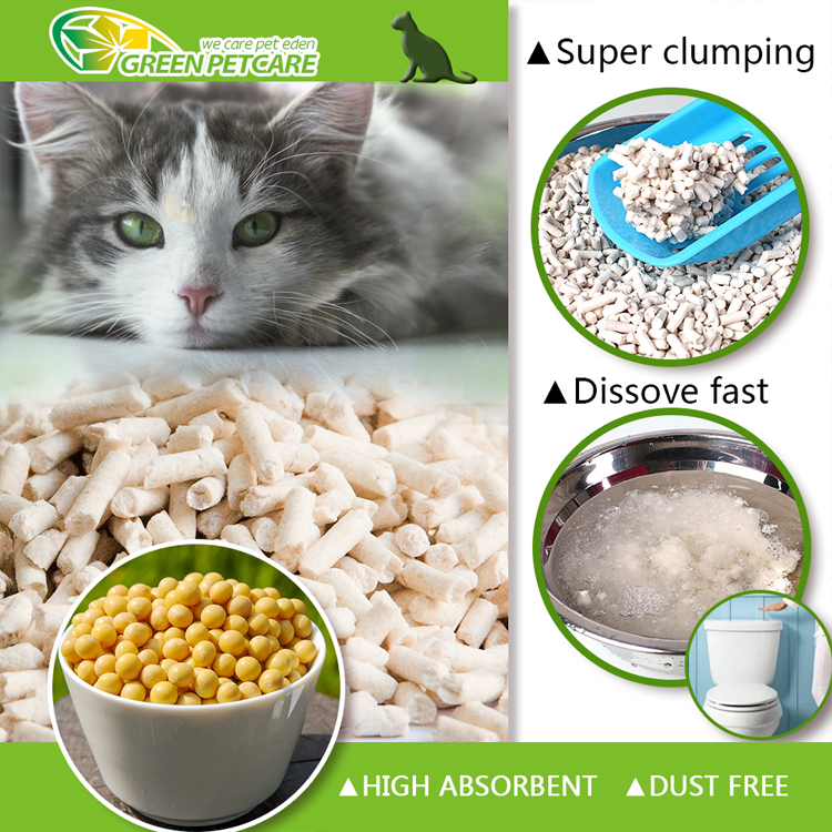 Dust free cat litter made of Soybean and Corn with super clumping