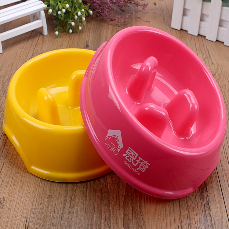 Plastic Prevent choking bowl for Dog Slow Eating Feeder